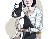 Marvin // Boston Terrier Sailor Print