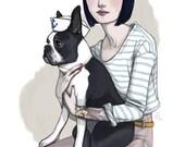 """Marvin // Boston Terrier Sailor Portrait 12x18"""""""