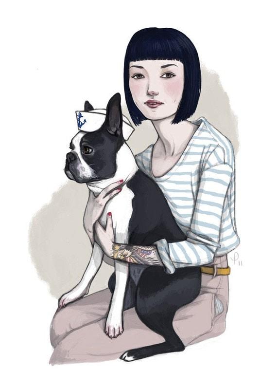 Marvin // Boston Terrier Sailor Print