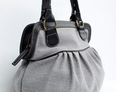 Handbag, Diaper bag,  Women bag, Travel bag, Soft Gray Color Sackcloth Handbag