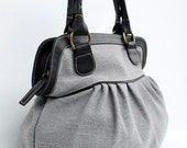 Soft Gray Color Sackcloth Handbag