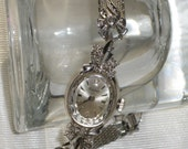 Vintage 1940s Bulova Ladies Watch Swiss 14k White Gold La Petite Fashioned in Diamonds Fancy Womens Mechanical Wrist Watch Marcasite Band