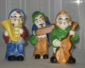 Vintage Occupied Japan Music Men Horn Guitar Accordian Musical Instruments China Figurines 3 Comical Clown Ceramic Figures