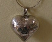 Vintage sterling silver Heart Pendant Engraved Large Puffy Heart Necklace, Jewelry with Large Bail 925 mark
