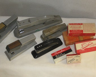 Vintage Staplers Staples Mixed Box Lot Collection Bates Swingline Collection of 5 Plus Staples in Original Box Mid Century Office Supplies