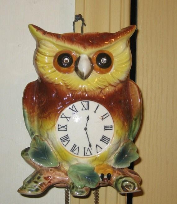 CLEARANCE SALE Vintage ceramic owl wallpocket faux clock