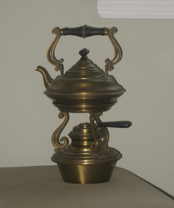 Antique Brass Teapot With Stand And Warmer 1890 S Art