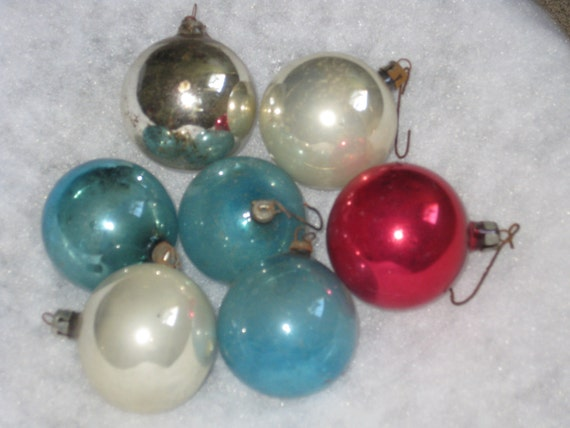 Vintage Christmas Ball Ornaments Fantasia Brand and Polish Red Silver and Blue Collection of Seven Old Glass Christmas Tree Balls