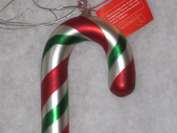 Dept 56 Oversized Candy Cane Mercury Glass Large Handpainted Handblown Christmas Ornament Decoration