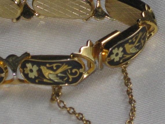Vintage Damascene Bracelet Bird and Flower Black and Gold