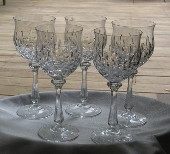 Vintage FOUR Crystal Stemware Water Wine Goblets Mikasa Normandy Pattern  1980's Discontinued Curvy Stem Glasses