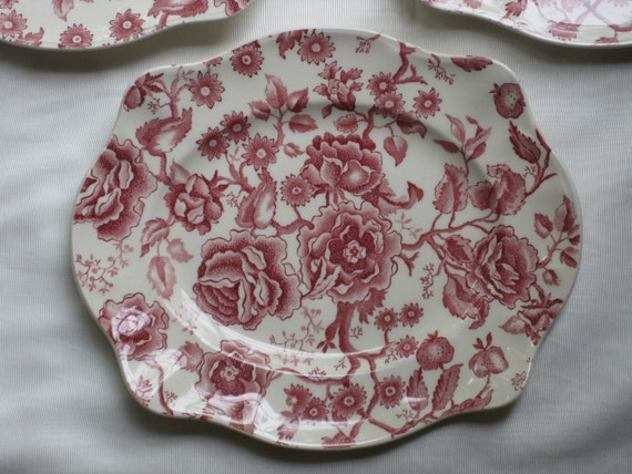 RESERVED English Transferware Platter Cabbage Roses and Flowers Red and White Large Rectangle Plate Johnson Brothers english Chippendale