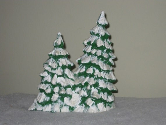 Vintage Christmas Trees Snow Capped Ceramic Double Tree Figurine for Christmas Village Scene