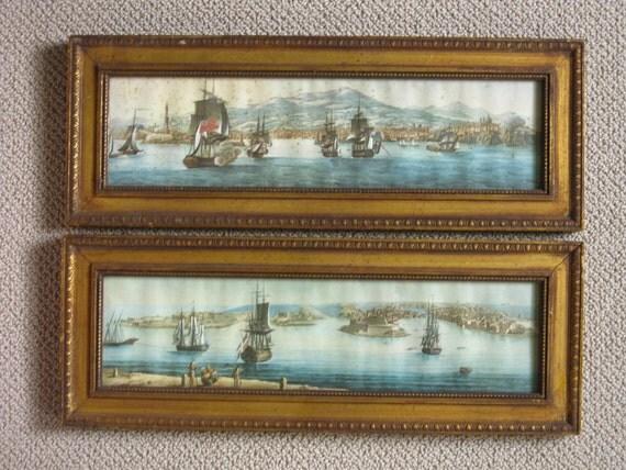 Vintage Repro of Antique European Watercolor Prints H. Hal Kramer  Antiques Custom Ship Collection Pair Old World Prints