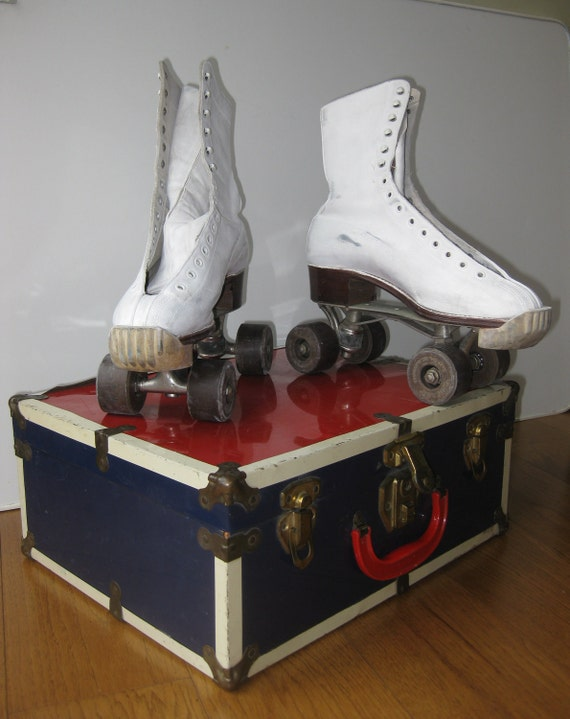 Vintage Ladies Roller Skates in Original Metal Case 1950s Red White and Blue Carrying Case Leather Hyde Athletic Shoe Co
