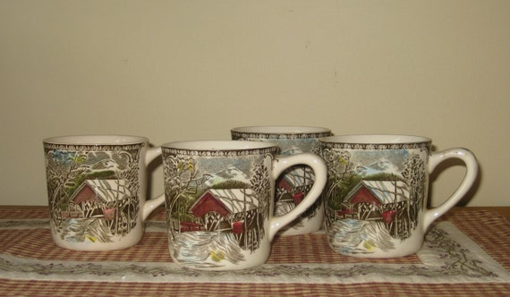 SALE Johnson Brothers Set of 4 Ironstone Coffee Mugs The Covered Bridge the Friendly Village English Transferware Cottage Chic REDUCED 25%