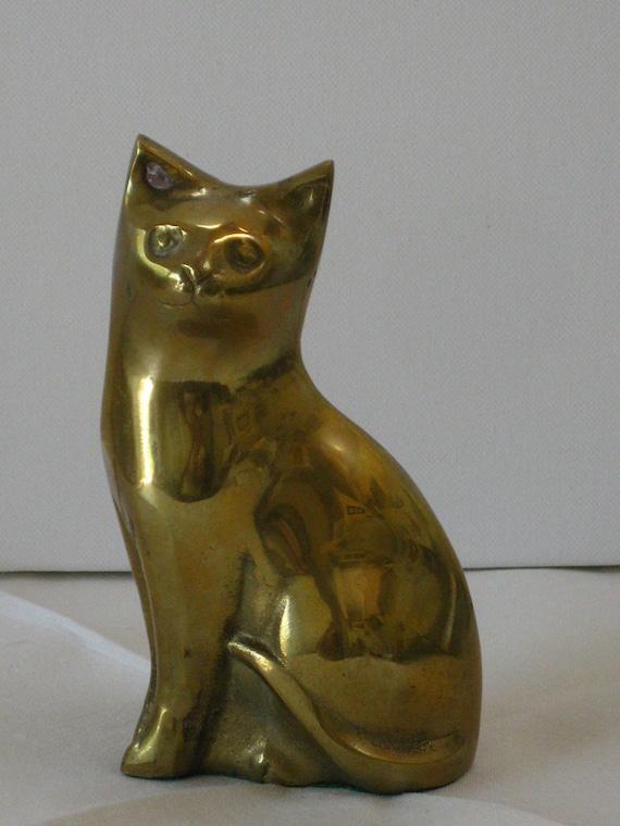 Vintage Solid Brass Cat Figurine 1980s Modern Decor Paperweight or Shelf Sitter