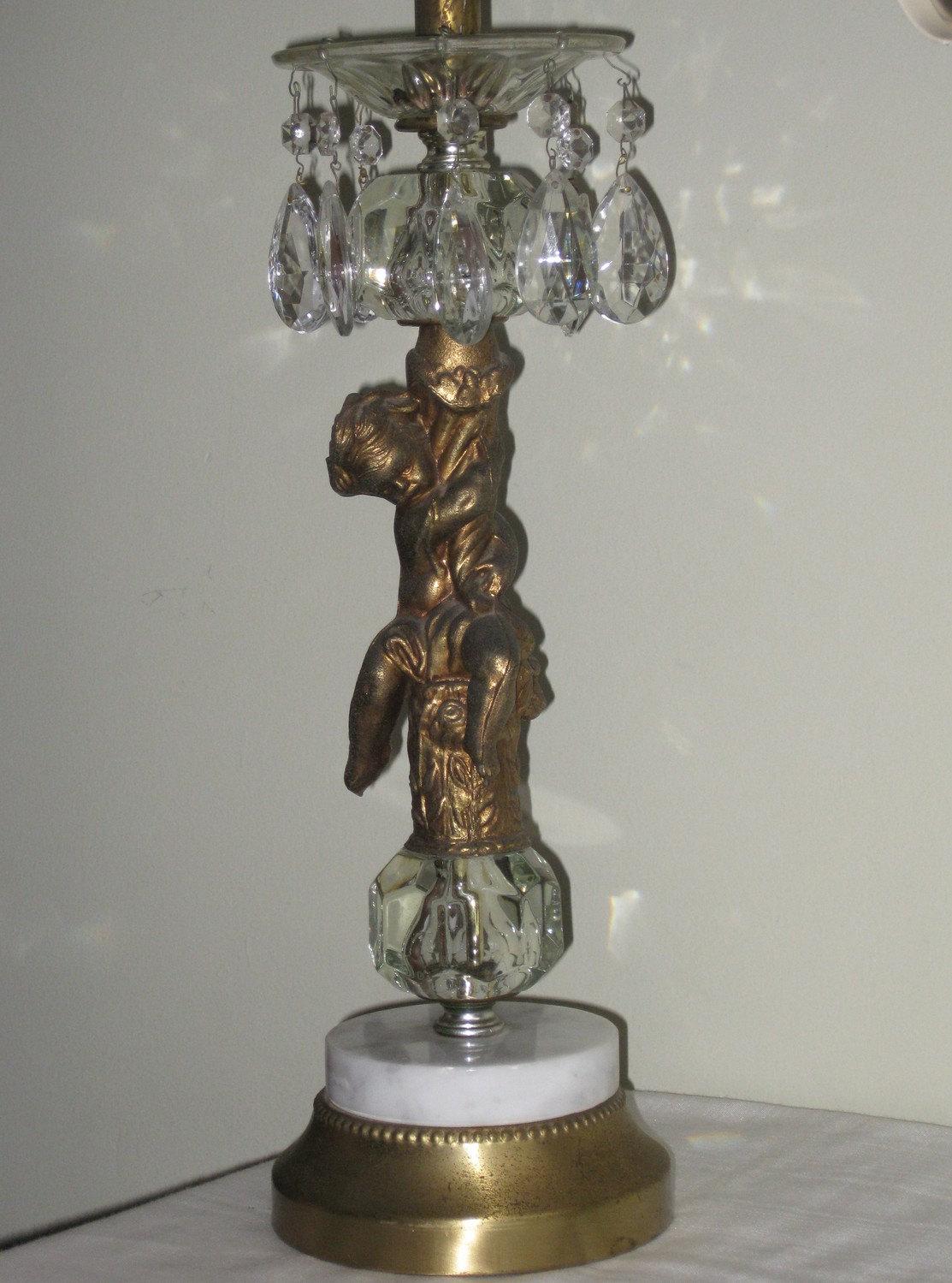 Vintage Brass Cherub Lamp With Glass Prisms By