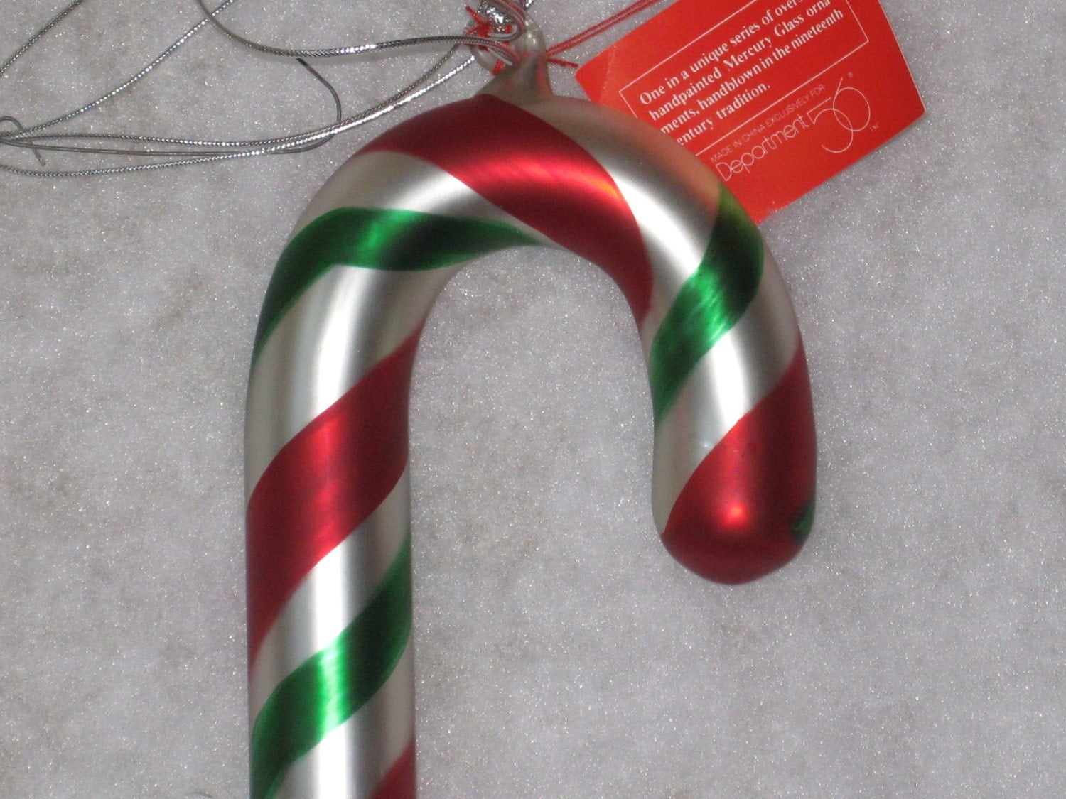 Dept oversized candy cane mercury glass by maggiemaevintage