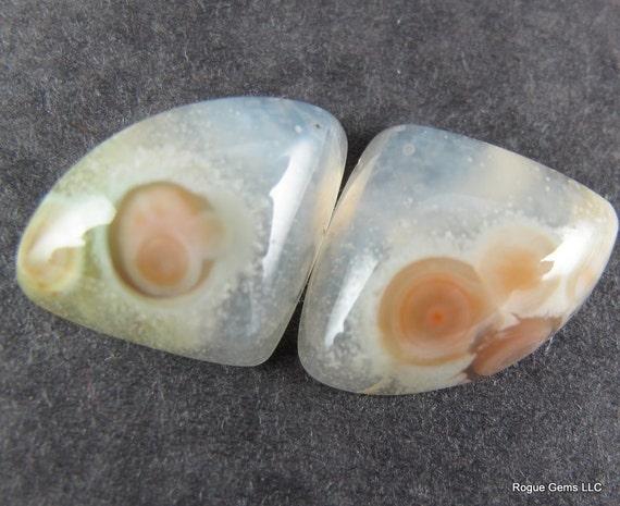 Orbicular Ocean Jasper Cabochon Matched Pair