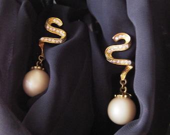 Vintage Eighties Golden Ribbon Swirl Faux Pearl Pierced Earrings