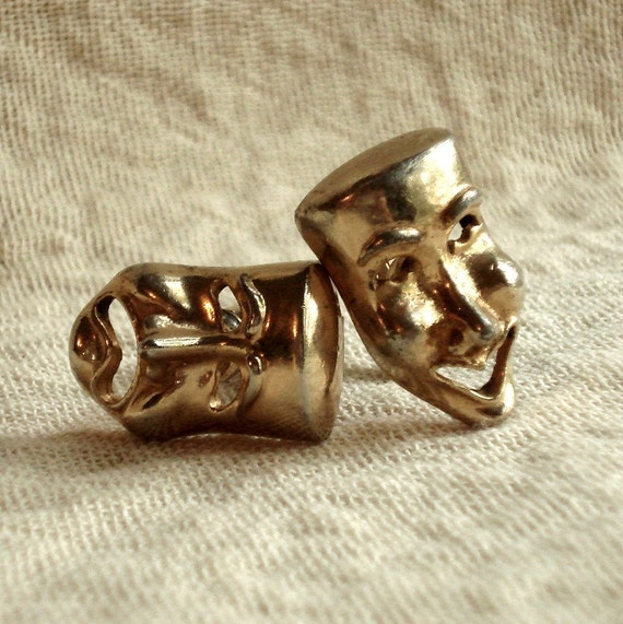 1940s Vintage Tragedy and Comedy Mask Swank Cufflinks