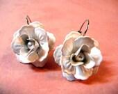 Earrings, white, rose, silver, pearls, flower, leverback, wedding jewelry