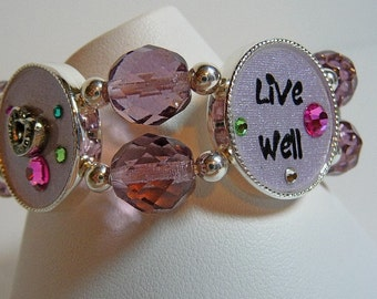 Collage Bracelet, beaded stretch bracelet, Live well, laugh often, love much, drink lots, silvertone, purple, crystals