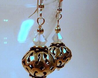 Sterling Silver Earrings, large, lightweight hollow lattice bead earrings, white opal crystals, bridal earrings, handmade