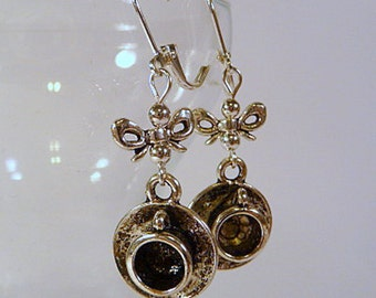 Tea Party Earrings, teacups and bows, dangle earrings, silver tone, leverback earrings, clip on earrings, handmade