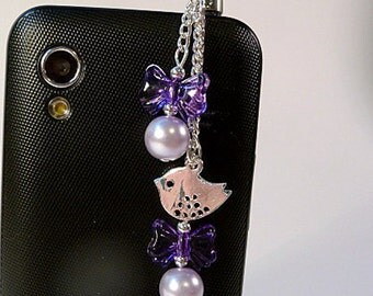 Cell phone charm, dust plug charm, birds and bows, purple, phone bling, crystals, cell phone dangle, iphone, android, handmade