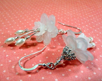 Wedding Earrings, lucite flowers, white, pearls, bridal, sterling silver earwires, handmade