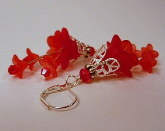 Floral Earrings, lucite flowers, red, silver, filigree, dangle, lightweight, leverbacks, pierced, or, clip ons, non pierced, handmade