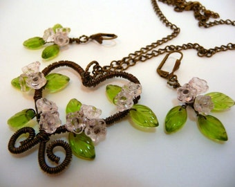 Necklace earrings set, wire wrapped, floral, heart, antique bronze, pale pink, romantic, feminine, cottage chic, handmade