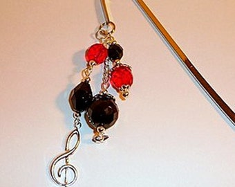 Treble Clef Bookmark, silver metal bookmark, beaded bookmark, dangle bookmark, music lover bookmark, black and red bookmark, handmade