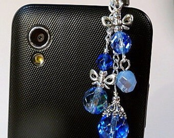 Cell phone charm, dust plug, bows, beaded, blue, fire polish beads, bling, iphone, android, handmade