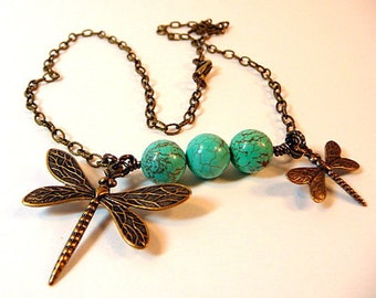 Dragonfly Necklace, antiqued brass dragonflies, turquoise beads, boho necklace, cottage chic jewelry, handmade necklace