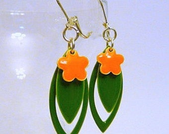 Floral Earrings, epoxy flower earrings, dangle earrings, leverback earrings, clip on earrings, green and orange earrings, silver, handmade