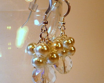 Bridal Earrings, white pearl clusters, pearl dangle earrings, crystal AB, sterling silver earwires, silver plated clip ons, wedding jewelry