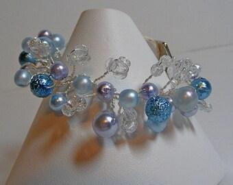 Wire wrapped Bracelet, blue pearl bracelet, bridal bracelet, crystal fire polish beads, something blue, wedding jewelry, handmade