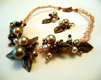 Wire Crochet Necklace earrings set, wire wrapped jewelry, copper and brown, brown pearls, statement necklace, bridal necklace set, OOAK