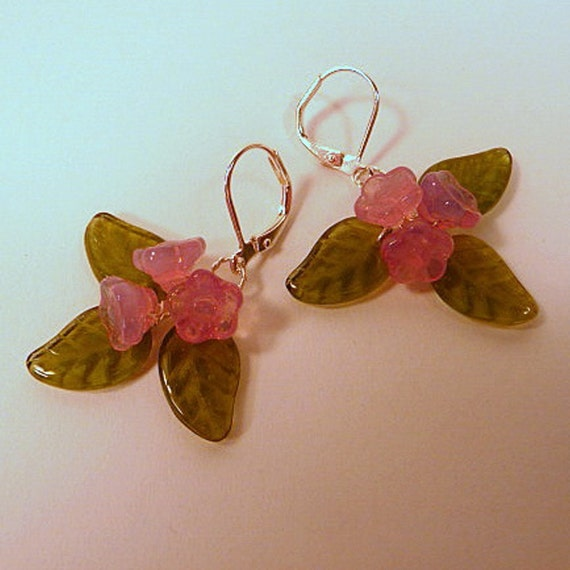 Floral Earrings - wire wrapped, pink glass flowers, green leaves