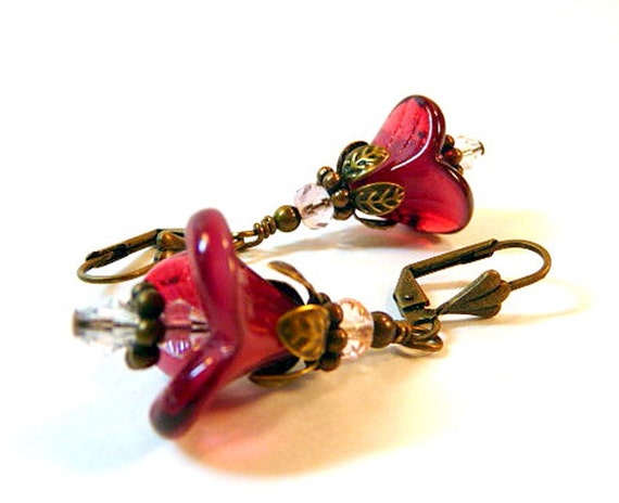 Floral Dangle Earrings, fuchsia, ruby, Czech glass flowers, antiqued brass leverbacks, cottage chic, beaded, handmade