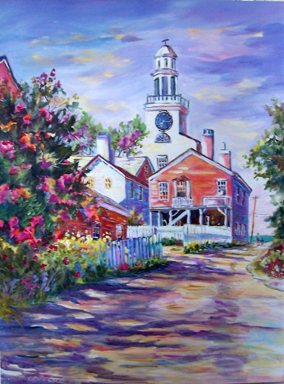 OLD NANTUCKET, THE SOUTH TOWER CHURCH,  original painting by Linda Kirsten Cole 40X30 ON A WRAP AROUND CANVAS