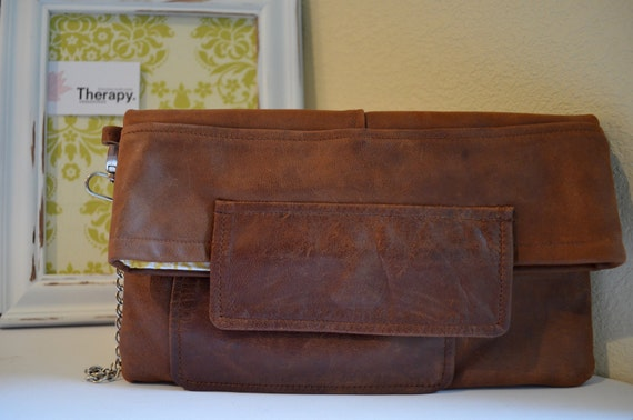 Therapy Leather Clutch, Upcycled Leather