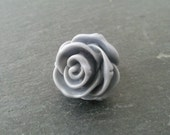 Retro grey Rose bud ring on brass adjustable ring base