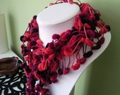 Red Tones bobble scarf hand crochet in uk