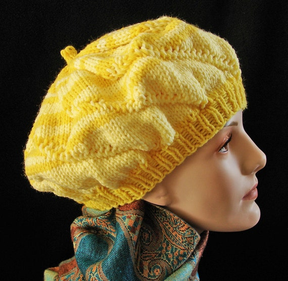 Woman's Spiral Knit Hat in Lemon Yellow / Bands of Yellow