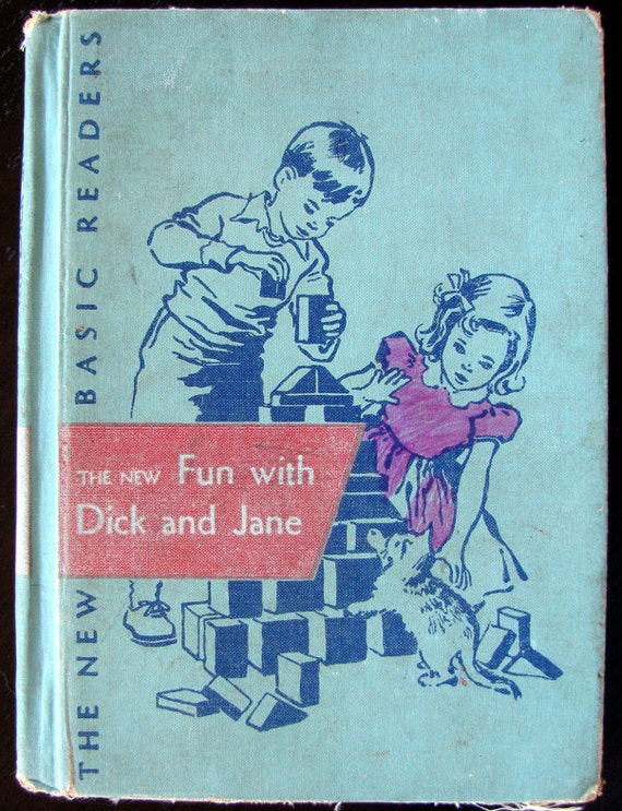 Vintage 50s Fun With Dick and Jane Book, Sweet Illustrations