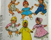 70s Vintage Baby Doll Clothes Simplicity 7208 UNCUT Sewing Pattern